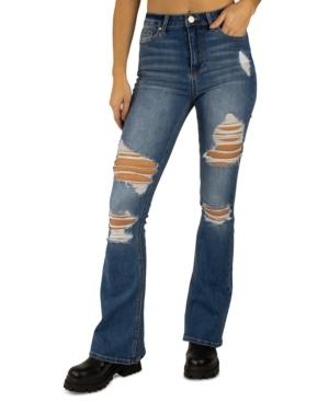 Juniors' Destructed High-Rise Flare-Leg Denim Jeans