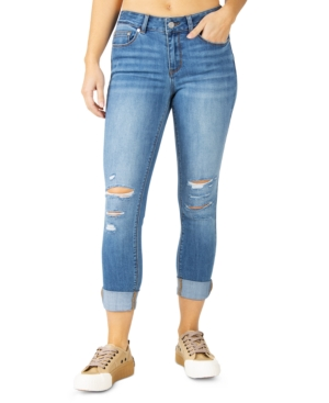 Juniors' Destructed Mid-Rise Rolled-Cuff Skinny Jeans