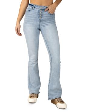 Juniors' High-Rise Exposed-Button Flare-Leg Denim Jeans
