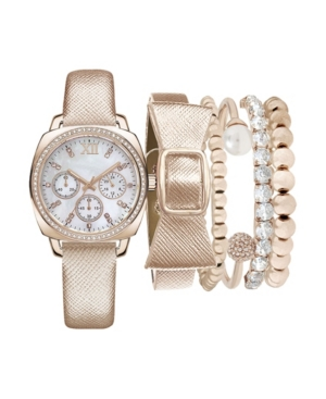 Women's Analog Silver Strap Watch 34mm with Stackable Bracelets Set