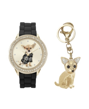 Women's Analog Dog Lovers Black Metal Strap Watch 34mm with Cubic Zirconia Crystals Chihuahua Key Chain Gift Set
