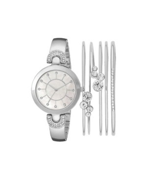 Women's Analog Silver-Toned Metal Strap Watch 32mm with Stackable Cubic Zirconia Crystal Bracelets Gift Set