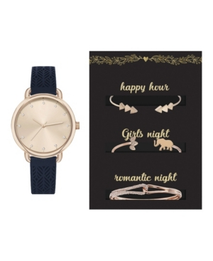 Women's Analog Navy Patterned Strap Watch 36mm with Glam Bracelets Cubic Zirconia Gift Set