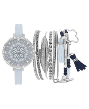 Women's Analog Blue Strap Watch 34mm with Mandala Dial and Stackable Bracelets Set