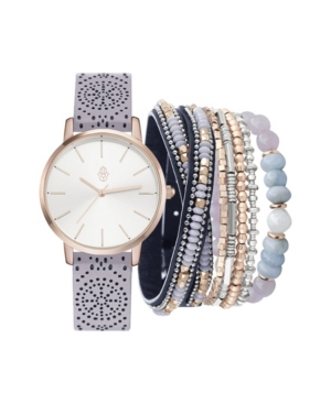 Women's Analog Gray Patterned Strap Watch 36mm with Stackable Bracelets Set