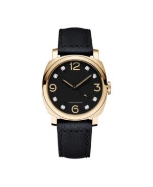Men's Bezel Round Diamond Gold-Tone Black Leather Analog Watch