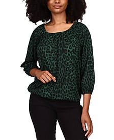 Cheetah-Print Peasant Top, Regular & Petite