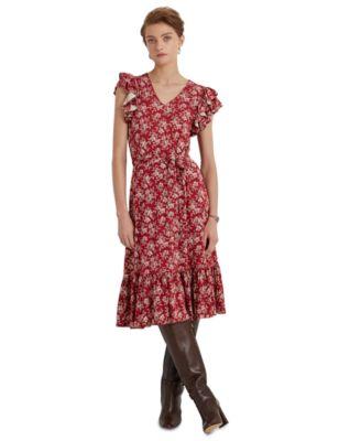 로렌 랄프로렌 Lauren Ralph Lauren Ruffled A-Line Dress,Bright Clay/mas Cream