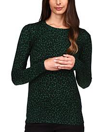 Cheetah-Print Sweater, Regular & Petite
