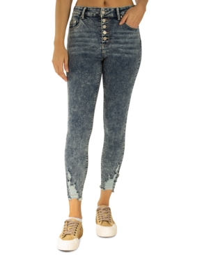 Juniors' Distressed High-Rise Exposed-Button Skinny Jeans