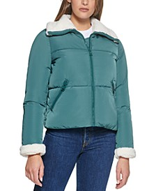 Sherpa Trimmed Puffer Coat, Created for Macy's
