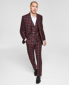Men's Slim-Fit Red/Gray Plaid Vested Suit Separates, Created for Macy's