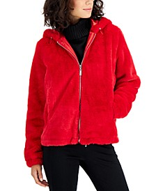 Juniors' Hooded Faux-Fur Coat, Created for Macy's