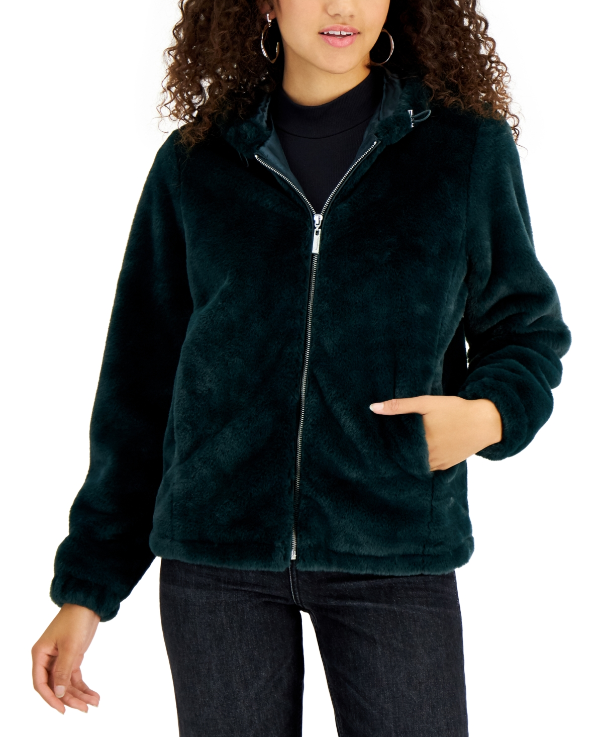 Juniors' Hooded Faux-Fur Coat