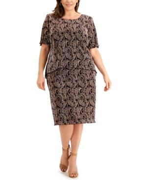 Plus Size Printed Pleated Midi Dress