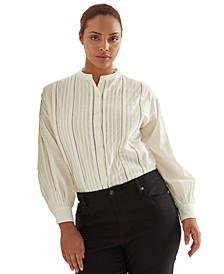 Plus-Size Cotton Voile Blouson-Sleeve Shirt