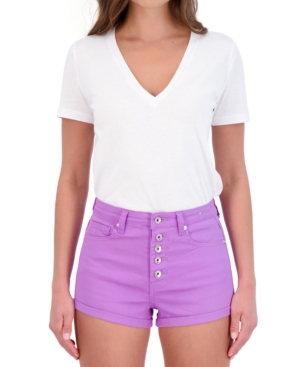 Juniors' Button-Fly Twill Shorts