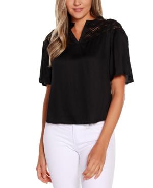 Black Label Short Sleeve Split Neck with Lace Detail Top