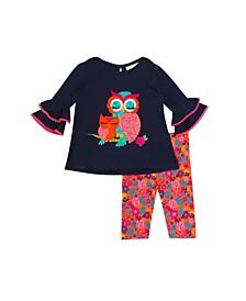 Baby Girls 2-Piece Owl Applique Top and Leggings Set