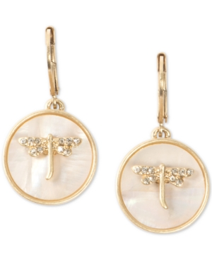 Gold-Tone Pave Dragonfly Disc Drop Earrings