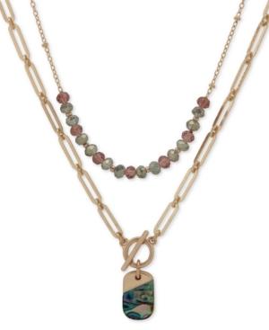 Gold-Tone Abalone & Bead Layered Pendant Necklace