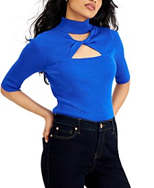 Elbow-Sleeve Cutout Ribbed Turtleneck Top, Created for Macy's