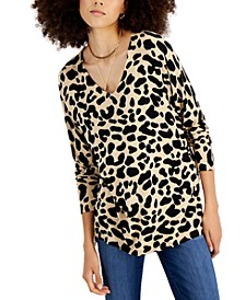 Cheetah-Print V-Neck Step-Hem Sweater, Created for Macy's