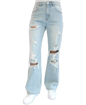 Juniors' Ripped 90s Wide Leg Jeans