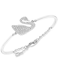 Swarovski Rhodium-Plated Crystal Swan Bangle Bracelet