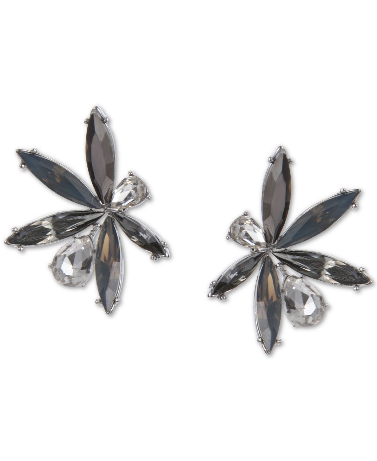 Inc International Concepts Silver-Tone Crystal & Stone Button Earrings, Created for Macy's