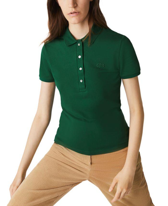 Lacoste Women's Slim-Fit Short-Sleeve Stretch Piqué Polo Shirt & Reviews - Tops - Women - Macy's
