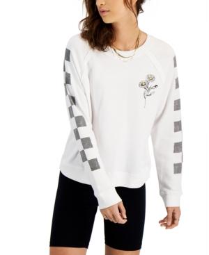 Juniors' Daisy Checkered-Sleeve Top