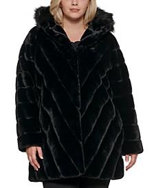 Plus Size Chevron Hooded Faux-Fur Coat