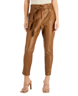 Pleather Paperbag Ankle Pants