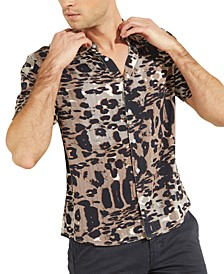 Men's Eco Glitch Leopard-Print Shirt