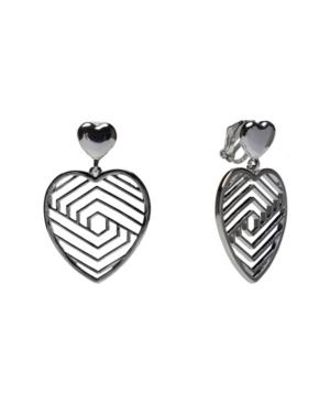 Silver-Tone Cut Out Heart Clip Earrings