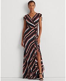 Blanket-Stripe Georgette Gown