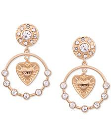 Gold-Tone Crystal & Logo Heart Orbital Drop Earrings