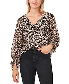 Leopard-Print Smocked-Cuff Top