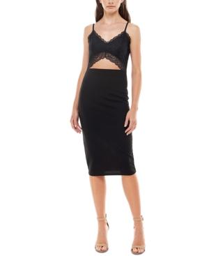 Juniors' Lace Midriff Slip Dress