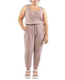 Plus Size Drawstring-Waist Jumpsuit