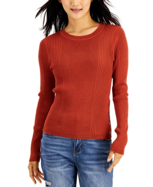 Juniors' Ribbed Side-Snap Sweater