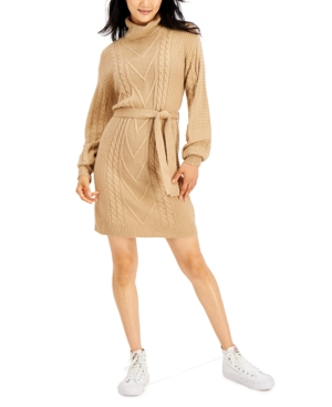 Juniors' Belted Cable-Knit Sweater Dress