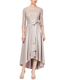 Sequined-Bodice High-Low Gown