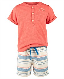 Baby Boys Henley & Striped Shorts Set, Created for Macy's