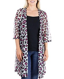 Women's Sheer Open Front Animal Print Kimono Cardigan
