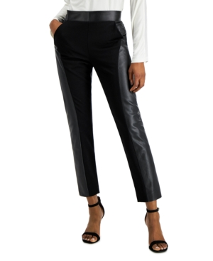 Mixed-Media Faux-Leather Pants