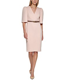 Belted Puff-Sleeve Dress