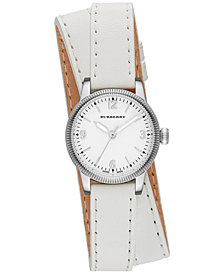 Burberry Unisex Swiss The Utilitarian White Leather Double Strap Watch 30mm BU7846