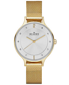 Skagen Women's Anita Gold-Tone Stainless Steel Mesh Bracelet Watch 30mm SKW2150
